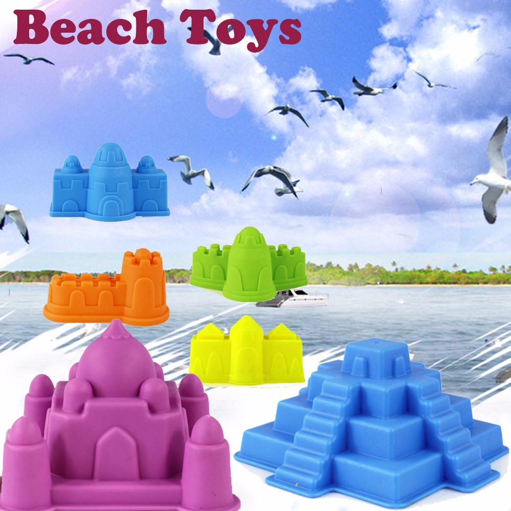6Pcs Sand Sandbeach Castle Model Kids Beach Castle Water Tools Toys Sand Game Funny Educational Toys For Children Best Gift A510