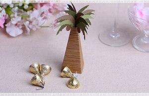 Image 2 - 100pcs/lot Wedding Favor Coconut Palm Tree Box Baby Shower Souvenirs DIY Wedding Palm Candy Box for Wedding Decoration