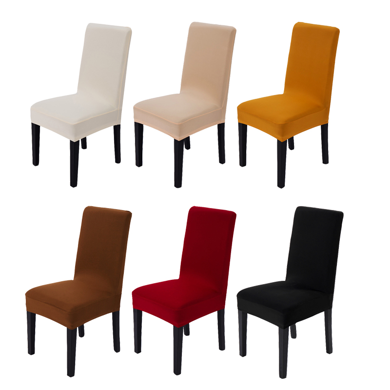 Simple Solid Color Spandex Elastic Dining Room Chair Cover Durable Anti-dirty Seat Covers for Home Banquet Wedding Party Decor
