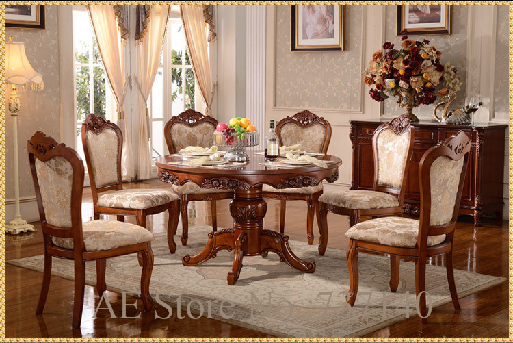 Dining Table Set 6 Chairs Retro Wood Furniture Luxury Room Wholesale Price