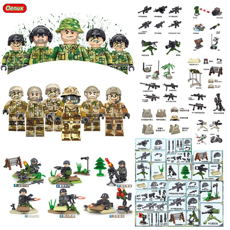 Oenux New Modern Military Special Forces Army Figures Building Block Military Camouflage Soldiers Building Brick DIY Toy For Boy 26er mtb carbon wheels 25mm clincher mountain carbon bike wheelset powerway m81 ud matt with logos bike wheels 26er 25c