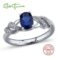 Silver Rings For Women Ring Round Blue Crystal And White Cubic Zirconia Rings Pure 925 Sterling