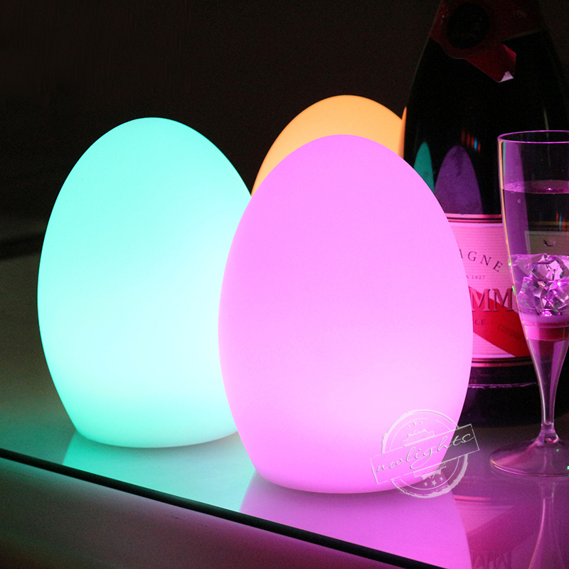 S M L RGB LED Egg Bar Table Lamp Dining Room Rechargeable Decoration Light 7 Colors In One Christmas Gifts