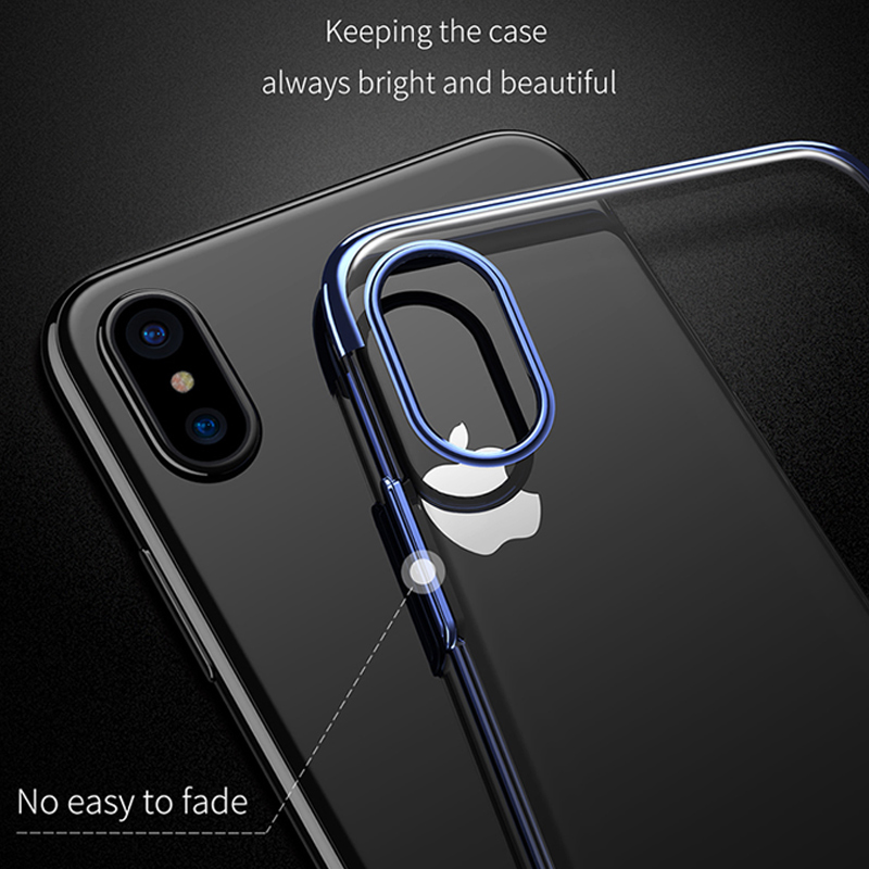 buy popular 0920b a9adb US $4.74 5% OFF|Baseus Luxury Plating Glitter Case For iPhone X Ultra Thin  Electroplating Hard PC Back Cover For Apple iPhoneX 10 Case Cover-in Fitted  ...