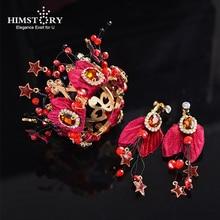 HIMSTORY Cute Mini Bridal Wine Red Flower Hair Crown Pearls Star Head Piece Kid Jewelry Wedding Accessories Hairwear