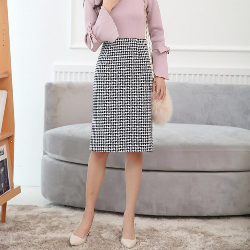 2018 Fashion Autumn Winter Women Midi Skirt Plus Size Casual Houndstooth Skirt High Waist Pencil Skirt Skirts Women