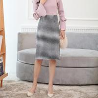 2018 Fashion Autumn Winter Women Midi Skirt Plus Size Casual Houndstooth Skirt High Waist Pencil Skirt Skirts Women