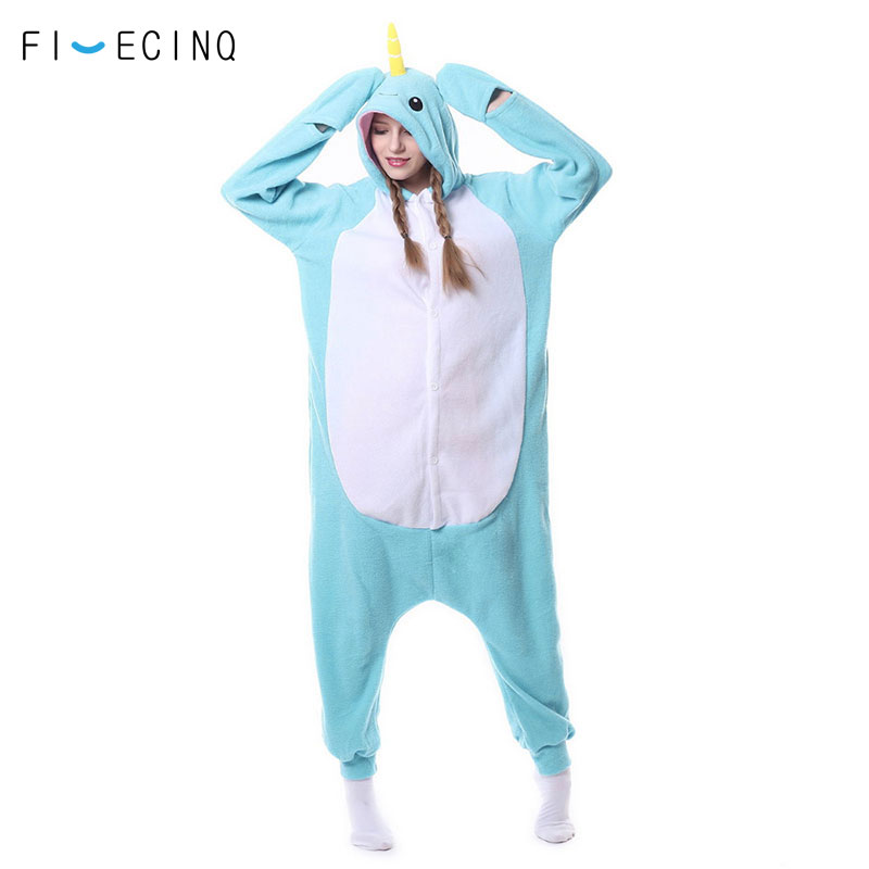 Novelty & Special Use Blue Narwhal Kigurumi Animal Cosplay Costume Adult Fancy Polar Fleece Loose Cute Sleeping Suit Onesie Pajama Women Party Overall
