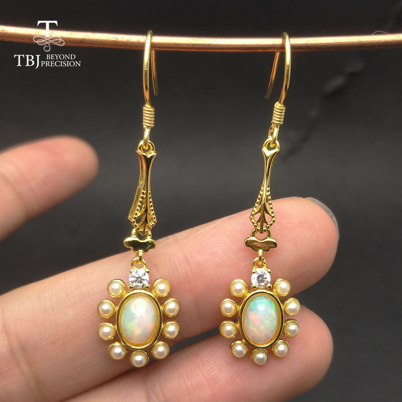 TBJ colorful natural gemstone earring with natural ethiopian opal in 925 sterling silver gold yellow color