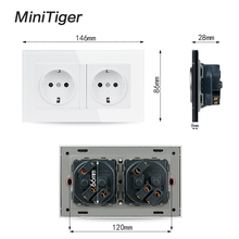 Minitiger 16A Double EU Standard Wall Socket Crystal Glass Panel Power Outlet Grounded With Child Protective Door Grey Black