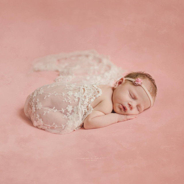 Newborn Baby Photo Props Floral Lace Layers Photography Tassel Wrap Scarf Rose