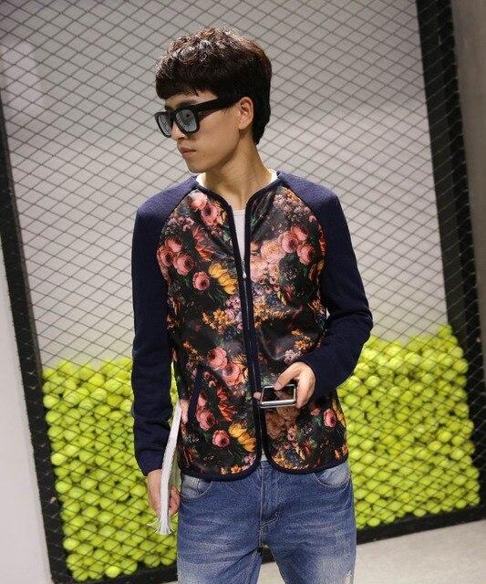 2016 Весна Осень Кожа Замша Лоскутное Куртка Мужчины Мода Цветок Печатных Кожаная Куртка Молния Кардиган Плюс Размер М-6XL