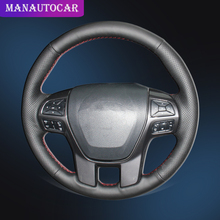 Car Braid On The Steering Wheel Cover for Ford Ranger 2016 2017 2018 2019 Everest DIY Auto Leather Covers