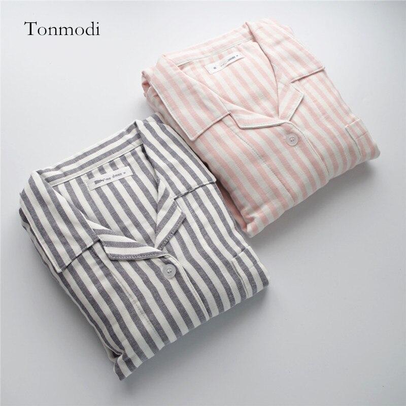 Pajamas for women Autumn  long-sleeve 100% Cotton Double Layer Gauze Pyjamas Thickening Women sleep Pajama set stripe Cardigan