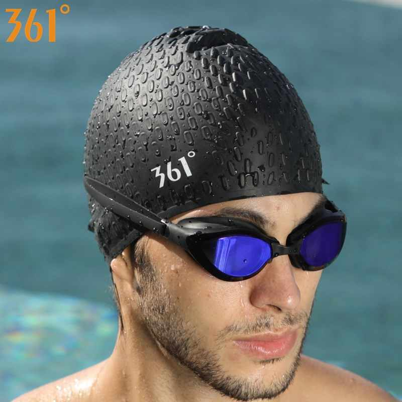 d4bbf7b3c12 ... 361 Silicone Particle Swimming Caps for Adult Men Women Long Hair  Swimming Pool Cap Waterproof Ear ...