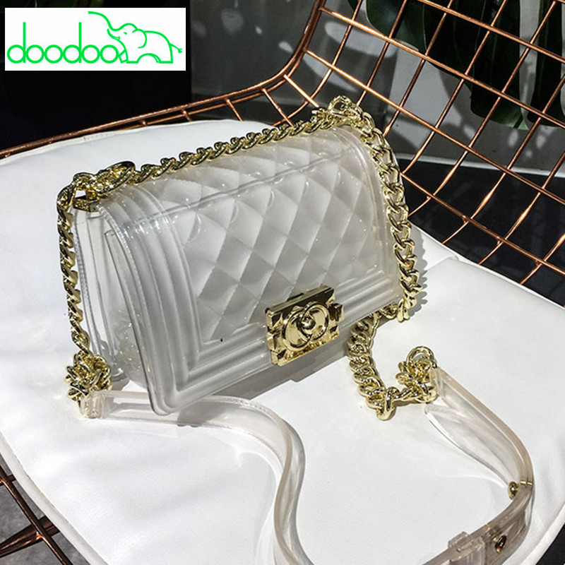 Famous Brand Women Messenger Bags Chain Shoulder Bag Luxury Designer Lady Handbag Purse Clutch Transparent Jelly Bag Channel Sac fashion chain casual shoulder bag messenger bag luxury handbag famous brand women designer crossbody bags lady clucth sac a main