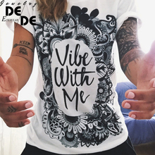 2019 New Summer Vibe With Me Print Punk Rock Graphic Tees White Designer 3D T shirt Clothing Women European Fashion T-shirt