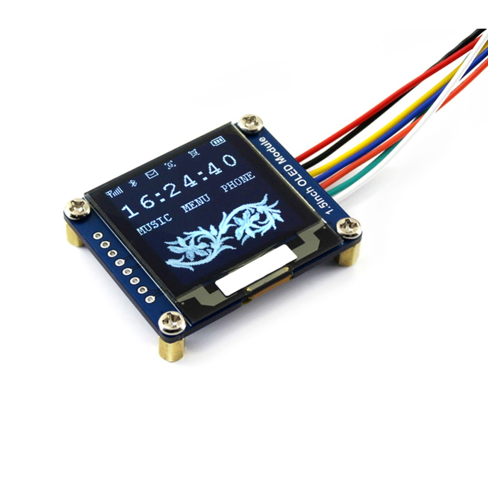 1.5inch <font><b>OLED</b></font> Display Module White <font><b>SSD1327</b></font> 128x128 SPI I2C White 3.3V-5V for Arduino Raspberry Pi STEM32 16 Gray Scale image