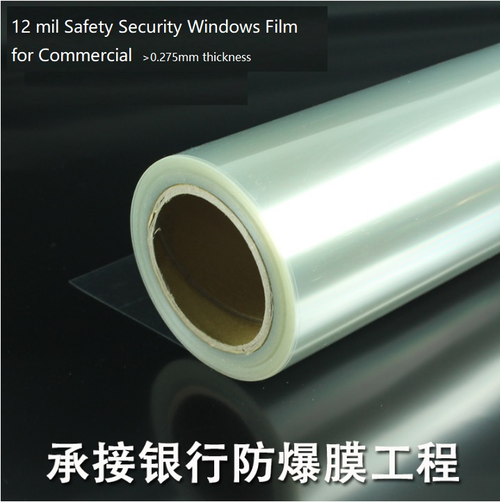 12 Mil Safety Security Windows Film for Commerical, Banks and Schools, price per sq meter maritime safety