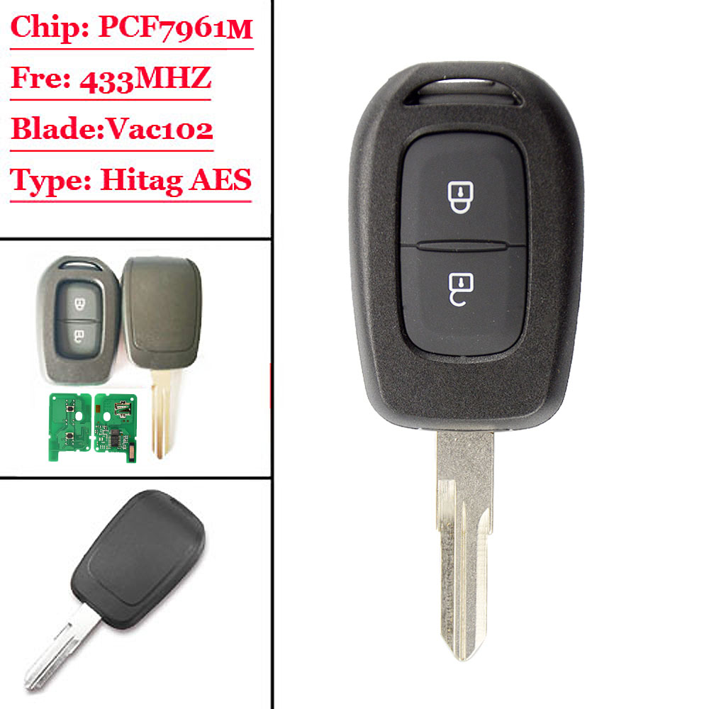 (1pcs) 2 Buttons Remote Car Key 433mhz With Pcf7961m Hitag Aes Chip For Renault Sandero Dacia Logan Lodgy Dokker Duster 2 Hot Sale 50-70% OFF