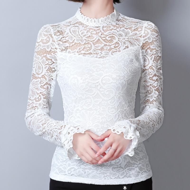 White Black Lace Shirts Women Blouse 2017 Autumn New Fashion Stand Long Sleeve Plus Size M-3XL Blouses Hollow Out Female Shirt