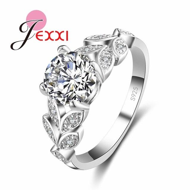 Jexxi Piękny Kwiat Z Liście Charm ślub Pierścionek Zaręczynowy