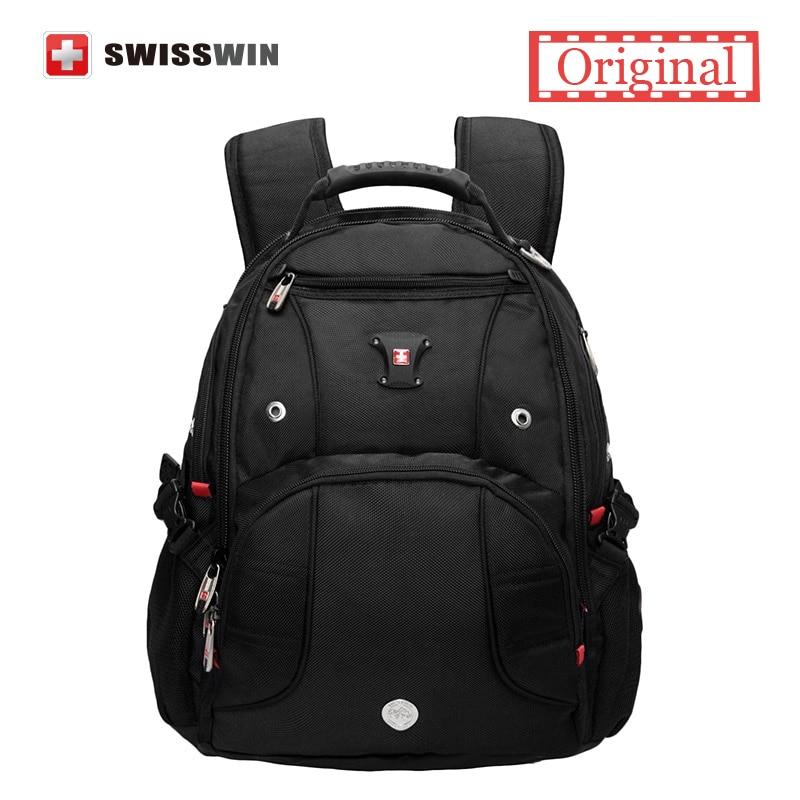Swisswin Laptop Backpack 15.6 Computer Bag for Business Travel 30L Male Backpack SW9906 Black backpack sac a dos bagpack swisswin black business backpack sw9218 male swiss 15 6 computer swissgear wenger bag 23l mochila