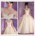 2016 v-neck princesa aqua/champagne vestido de baile para 15 anos debutante vestido de cristal vestidos quinceanera