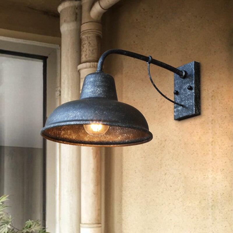 Vintage outdoor wall lamp wrought iron American wall sconce balcony corridor aisle garden light rainproof wall light bra sconce