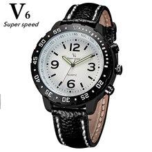 V6 relógios de marca dos homens Novos de forma legal de alta qualidade pulseira de couro genuíno relógio de quartzo estudantes esportes e lazer moda relógio