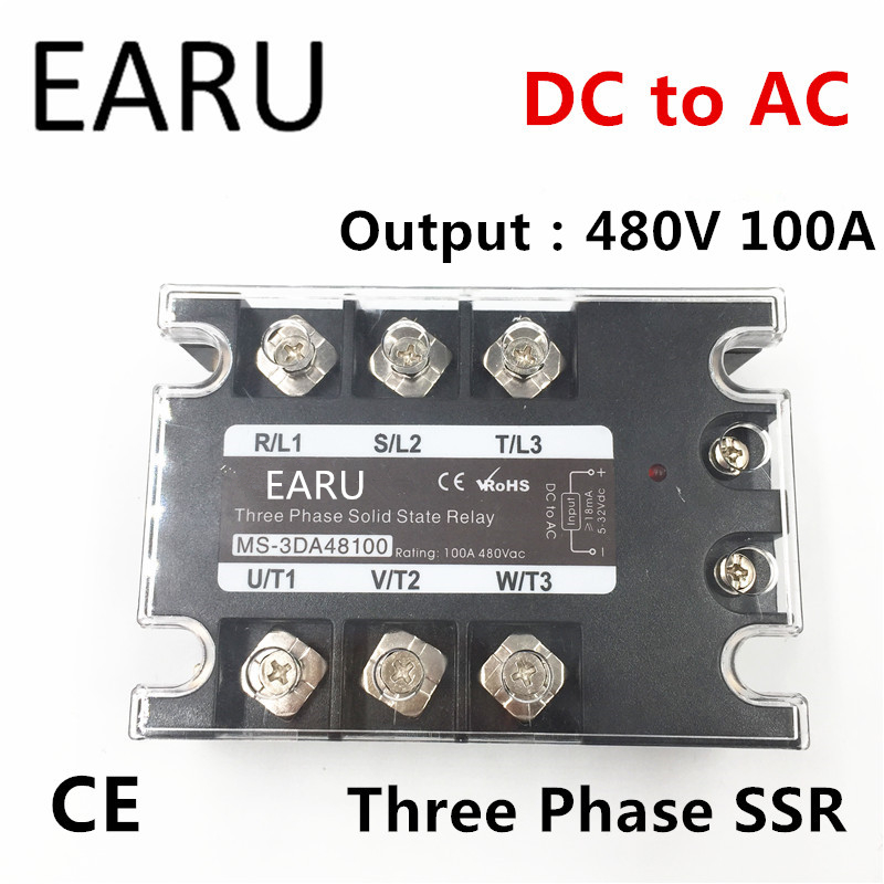 TSR-100DA SSR-100DA Three Phase Solid State Relay DC 5-32V Input Control AC 90~480V Output Load 100A 3 Phase SSR Power DA48100