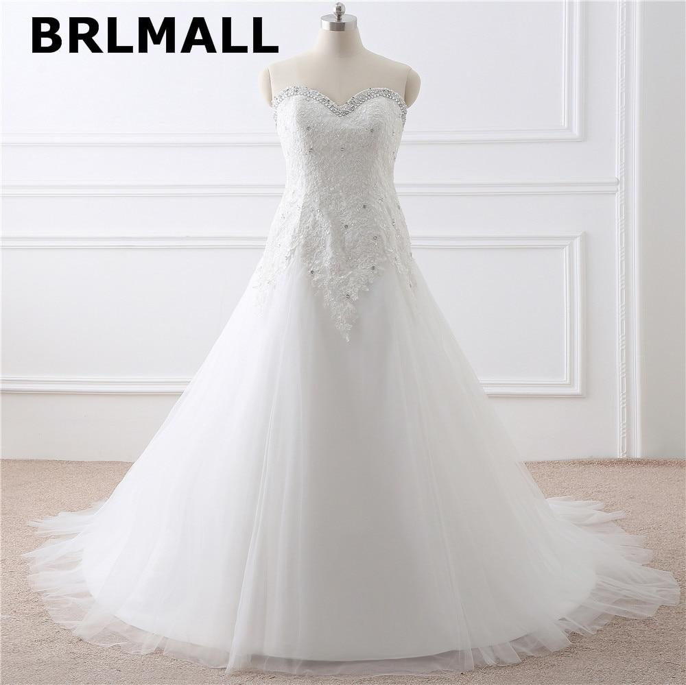 2018 Simple A Line Wedding Dresses Tulle Applique Lace Up