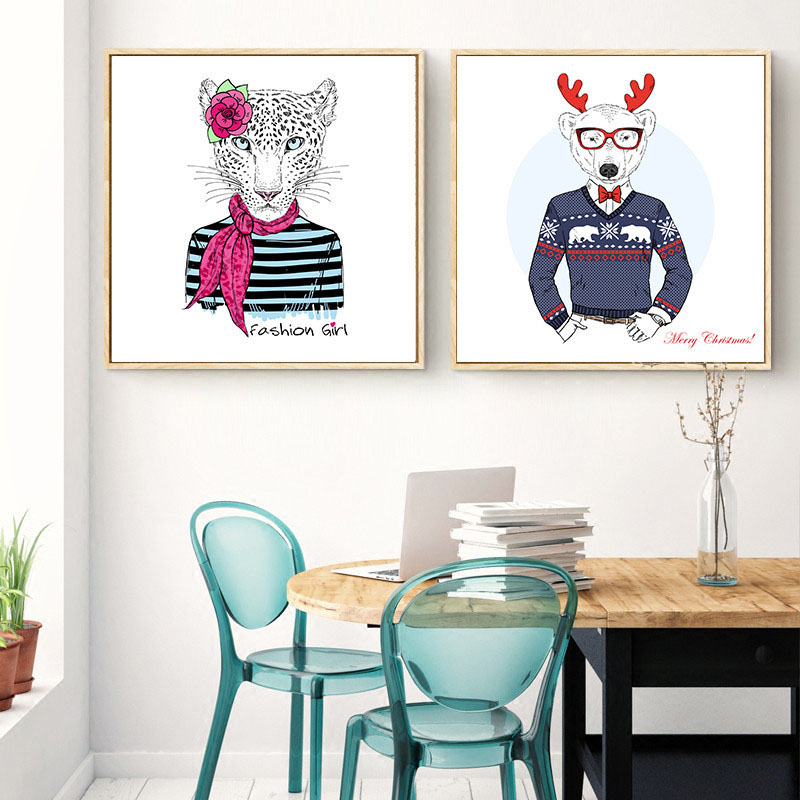 HAOCHU Canvas Print Decorative Painting Fashion Animal Cartoon Gentleman Living Room Bedroom Shopping Mall Poster Picture Art in Painting Calligraphy from Home Garden