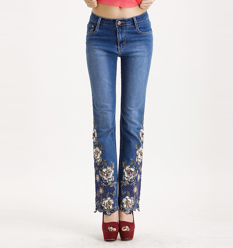 KSTUN Famous Brand Women's Jeans with Embroidery Hand Beaded Flared Pants Denim Stretch Boot Cut Luxurious Elegant Female Trousers 36 16
