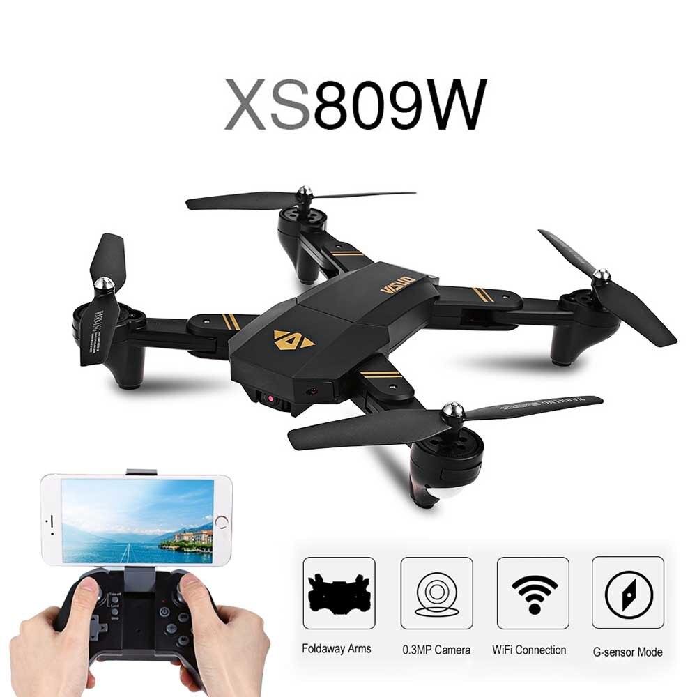Drone RC TIANQU XS809HW avec caméra HD WIFI FPV avec hélicoptère RC quadrirotor RTF à bras pliable à grand Angle