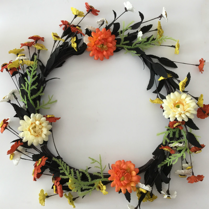 2017 New Design 20 inch National Tree Floral Wreath with Yellow and Orange Sunflowers Door Wreath Decoration Free Shipping