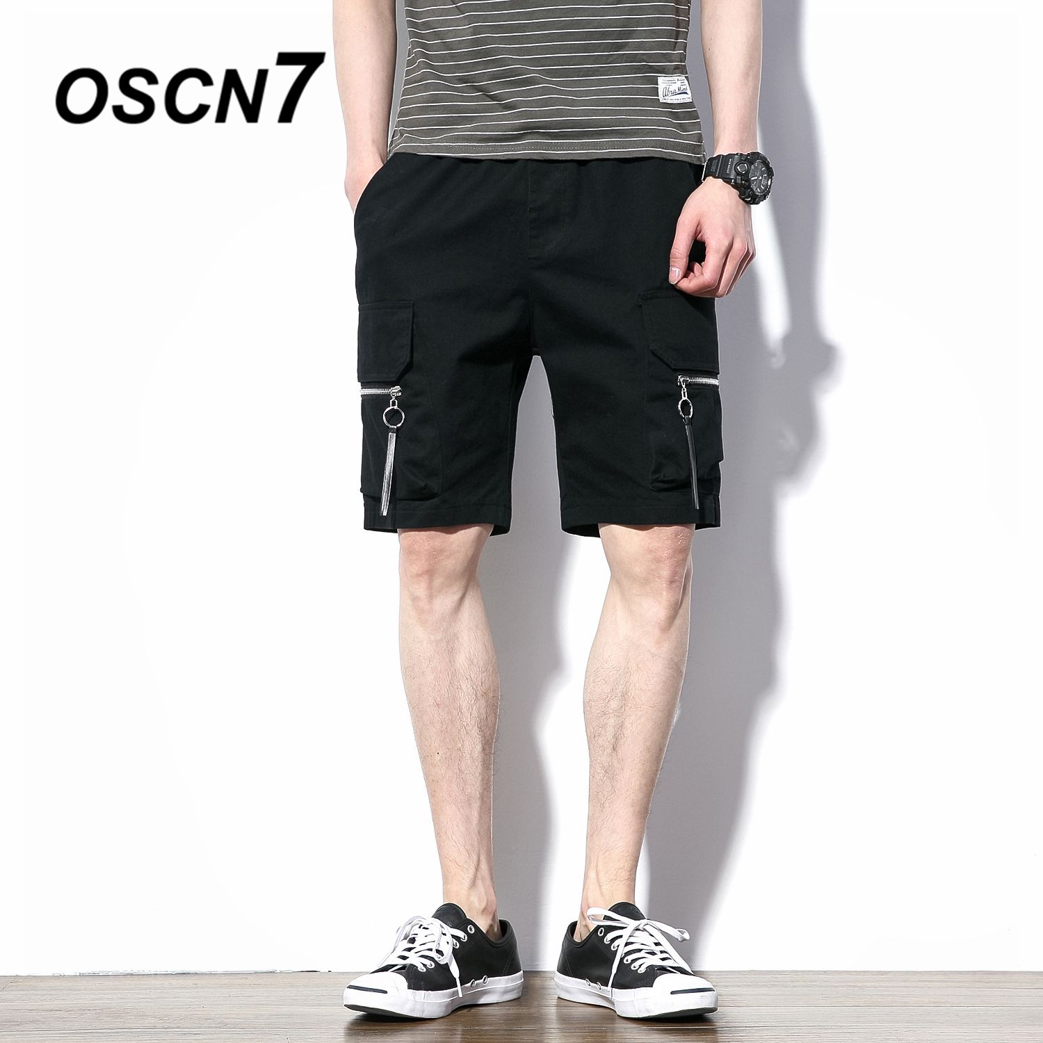 OSCN7 Black Summer Cargo Shorts Pants Casual Summer New Mens Shorts Large Size Short Pants K8161