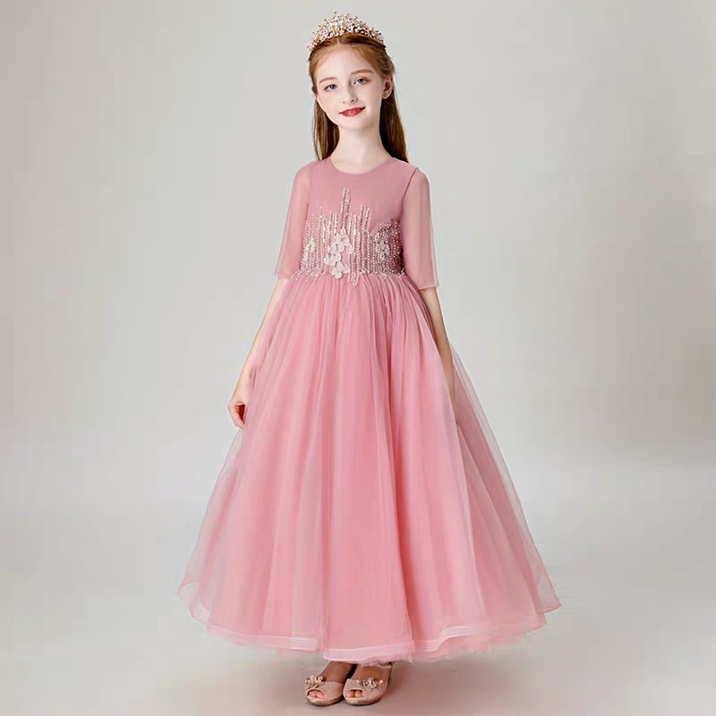 879eaa4732a 2019 New Children Girls Elegant Long Prom Gowns Teenagers Party Dress  Clothing Kids Evening Formal Dress