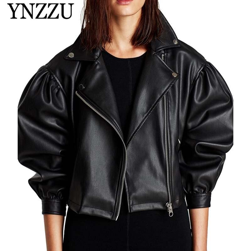 YNZZU European Style Black Women PU Leather Jackets 2019 Fashion Zipper Loose Short Faux Leather Jacket Autumn Coats YO792