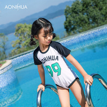 AONIHUA One-Piece Swimsuit Girls Letter Print Short Sleeve Kids Swimwear Outdoor Travel Beach Clothes