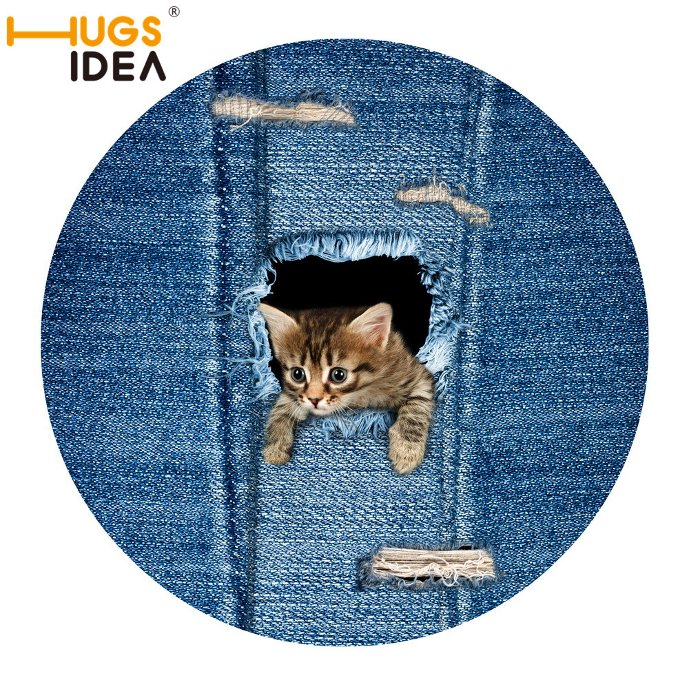 HUGSIDEA 3D Denim Cat Dog Lovely Design Carpet Round Door Mat for Children Kids Play Mat Anti-slip Thin Felt Tapetes and Rugs