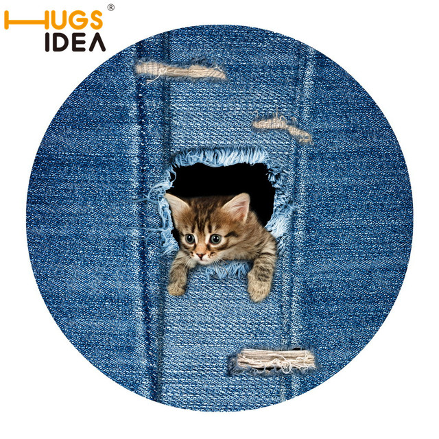 HUGSIDEA 3D Denim Cat Dog Lovely Design Carpet Round Door Mat For Children  Kids Play Mat Nice Design