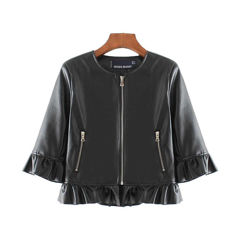 Autumn Women Ruffles Faux Pu Leather Jacket Three-Quarter Sleeve O Neck Zipper Black Short Ladies Basic Jacket Fashion Coat