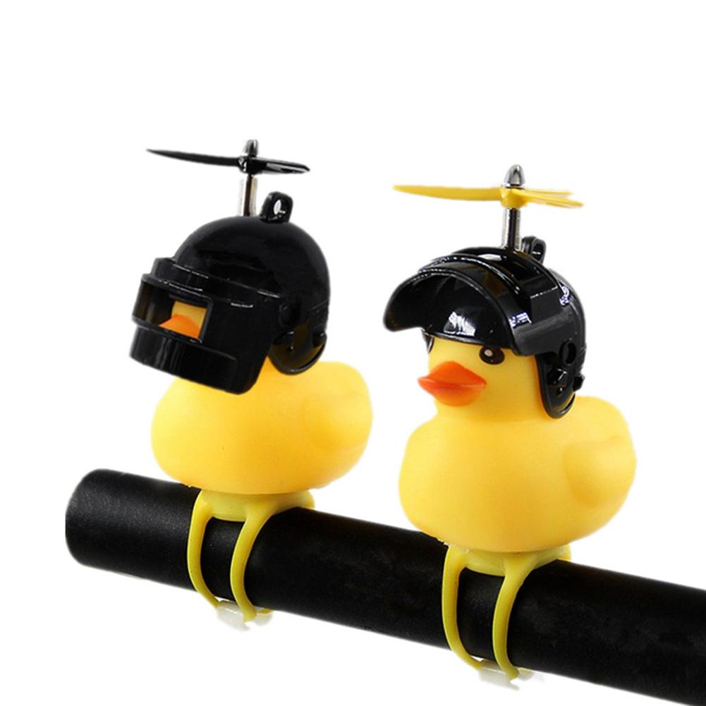 Random Cute Little Yellow Duck Bike Bell Motorcycle Accessories With Helmet!