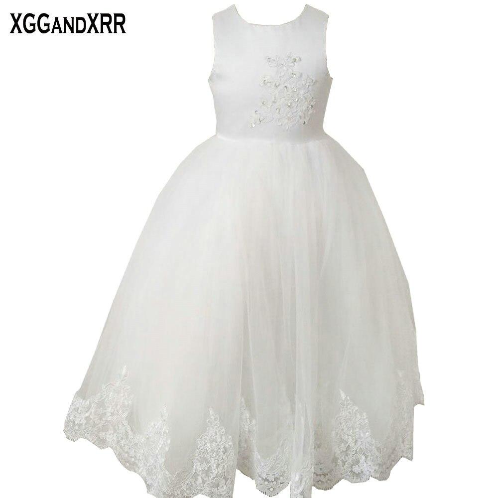 Hot Sale White Tulle Ball Gown Flower Girl Dresses 2018 Scoop