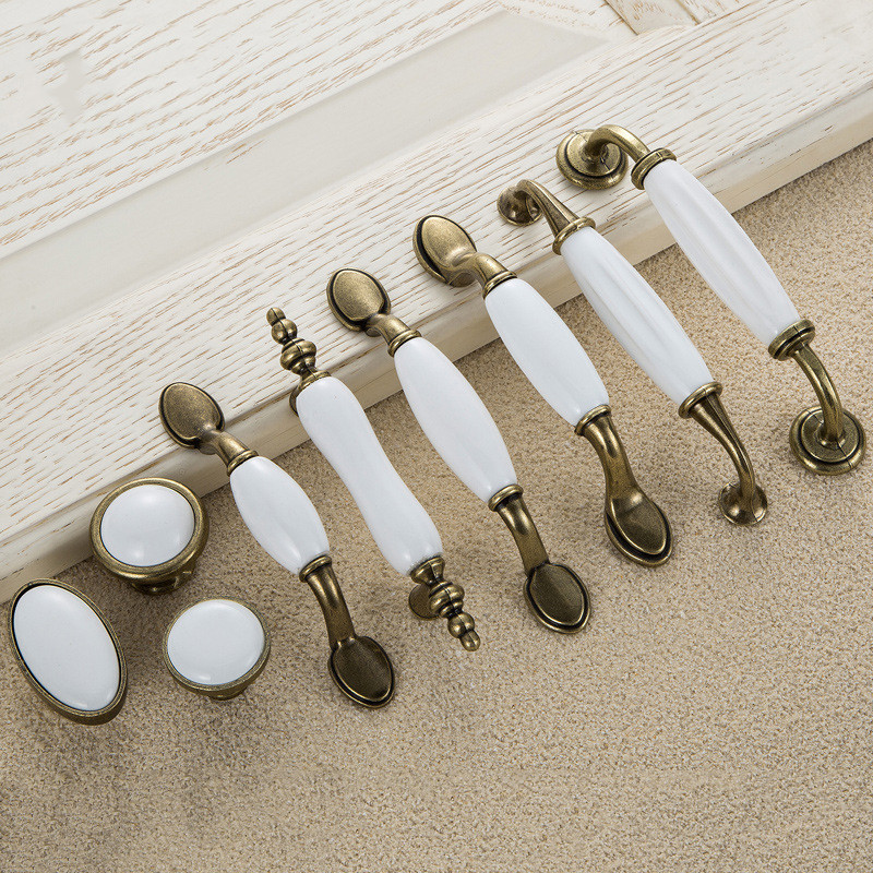 5pcs White Ceramic Door Handles European Antique Furniture Handle Drawer Pulls Kitchen Cabinet Handles and Knobs l door handle furniture handles black drawer kitchen cabinet door handle grips hole pitch handle pulls