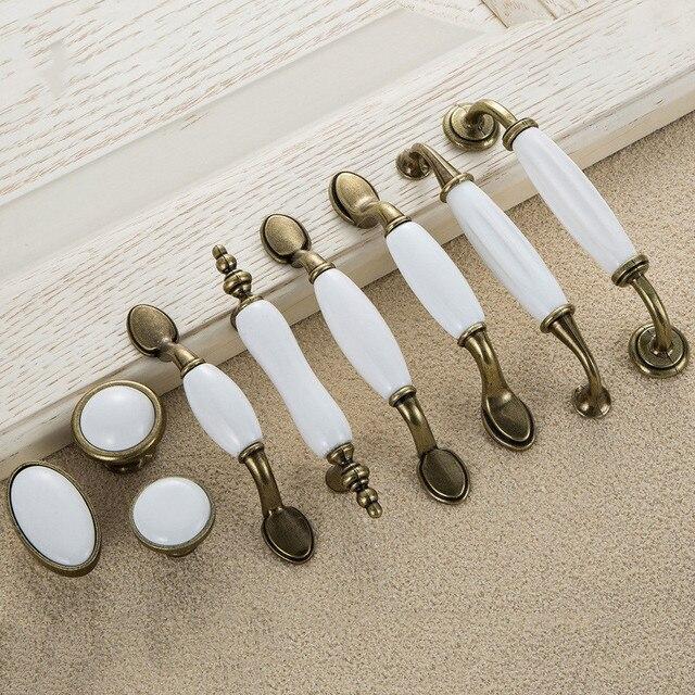 5pcs White Ceramic Door Handles European Antique Furniture Handle Drawer  Pulls Kitchen Cabinet Handles And Knobs