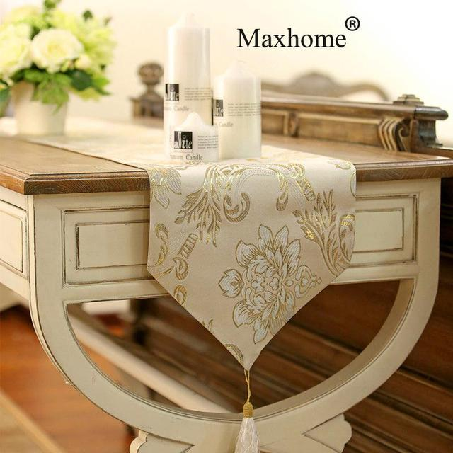 European Classical Luxury Table Flag Vintage Gold Jacquard Table Runner  Coffee Table Cloth Wedding Decoration Table
