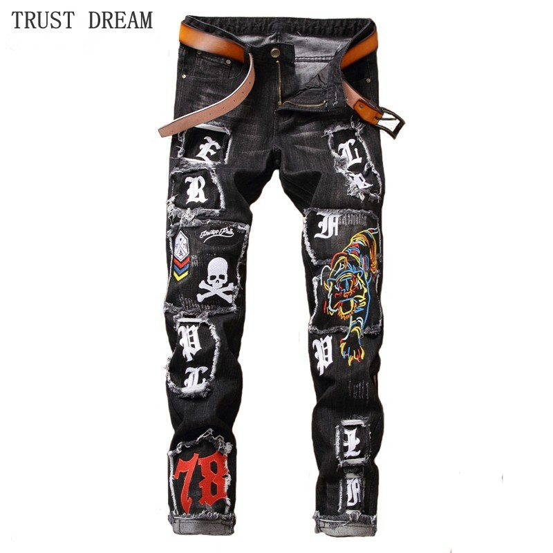 Europeans Style Men Embroidered Tiger Print Jean Patchwork Print Distressed Personal Amazing Man Slim Casual Jeans