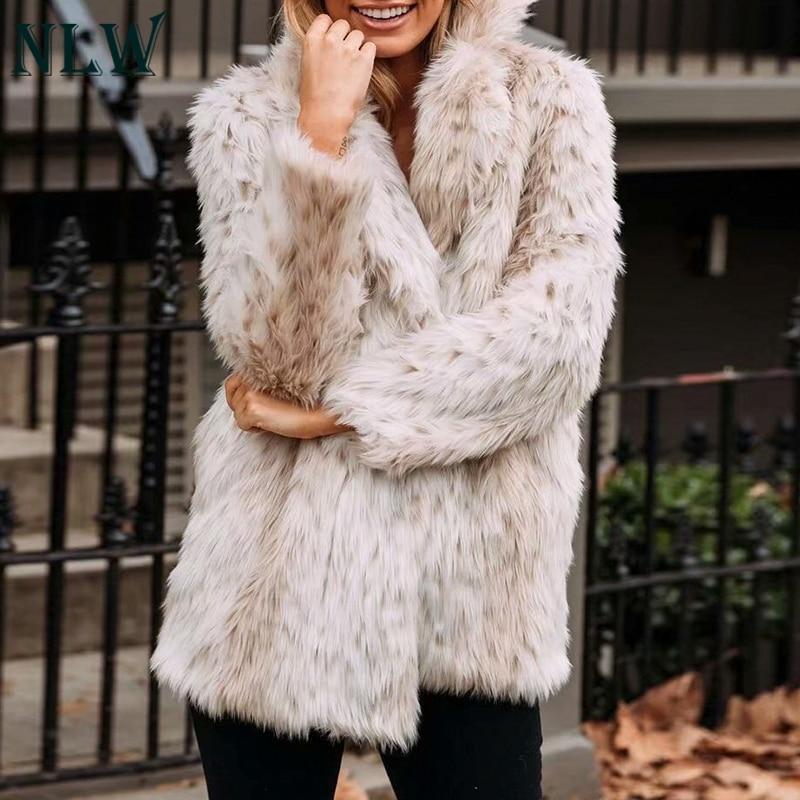 NLW Leopard Luxury Faux Fur Coat Jacket 2019 Winter Warm Long Fur Fluffy Teddy Jacket Fashion